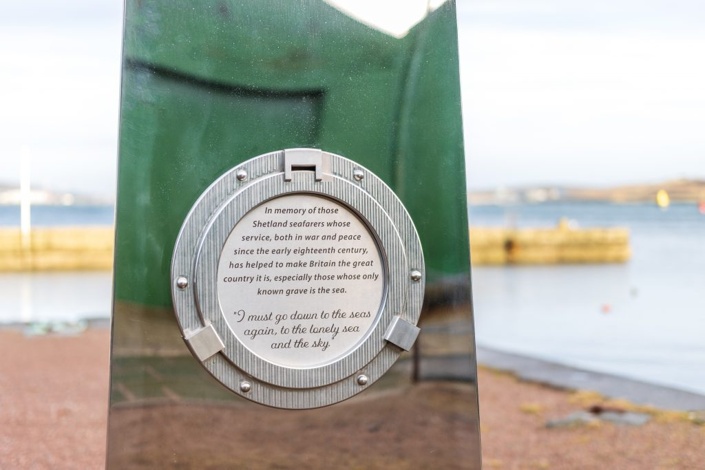 Stainless steel memorial crafted for the Shetland Seafarers by Ocean Kinetics