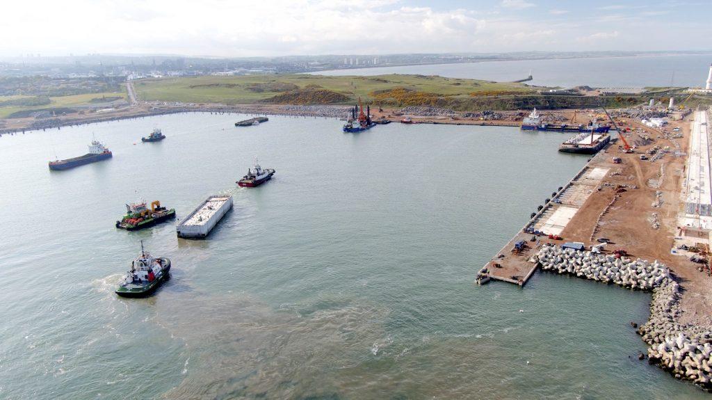 Birds eye view of Aberdeen Harbour construction