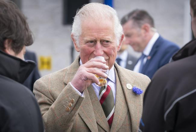 Prince Charles samples Scottish whisky in Shetland