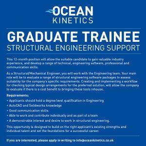 Ocean Kinetics graduate traineeship - Structural Engineering Support job advert